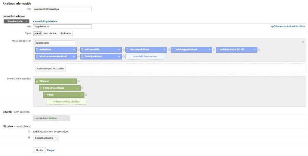 Google Analytics egyéni jelentés