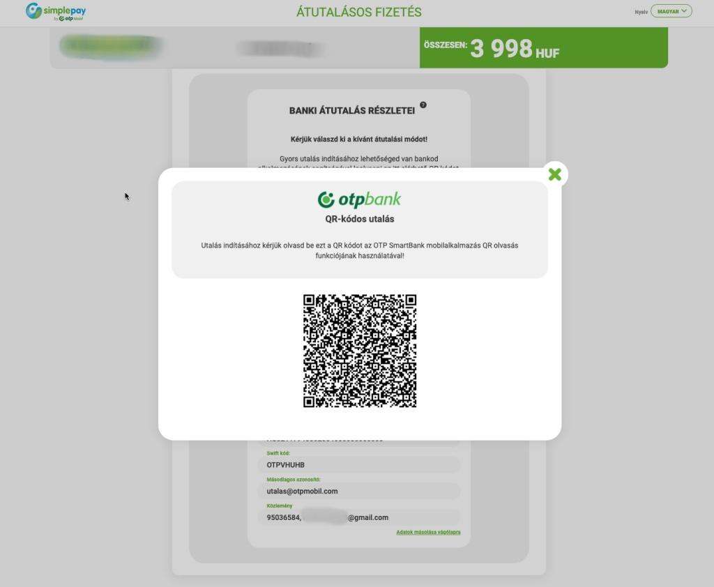 QR kódos azonnali fizetés az OTP-nél