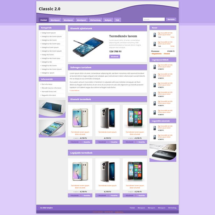Webáruház sablon - Classic 2.0 Sabloncsalád lavender
