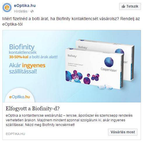 Példa a dinamikus termék hirdetésre Facebookon