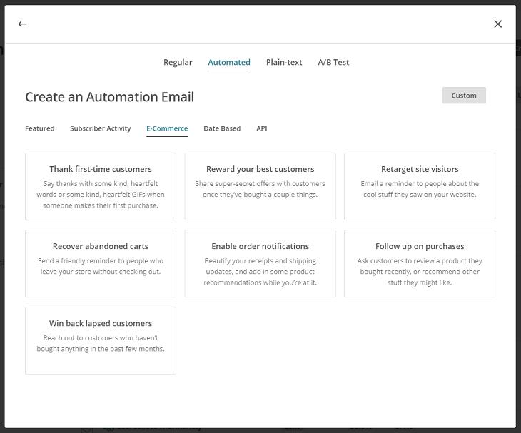 MailChimp e-kereskedelmi automatizmusok