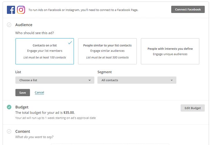 Facebook hirdetés beállítása Mailchimpben