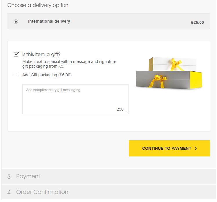 Selfridges ajándékcsomagolás opció