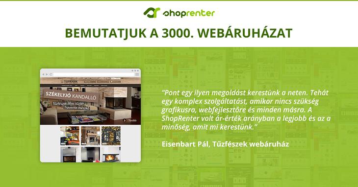 Már 3000 webáruház használja a ShopRentert - Bemutatjuk a 3000. webshopot