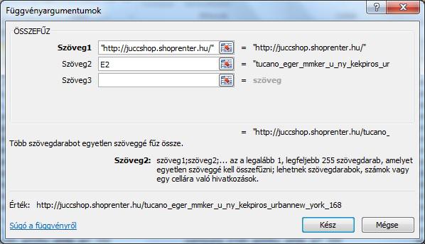 Excel összefűz függvény