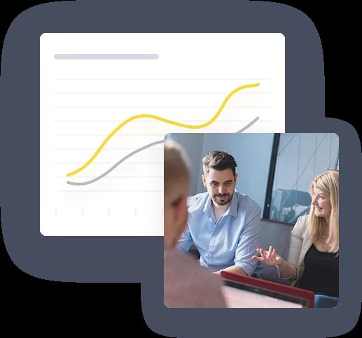 Növekedési diagram és a marketing csapat közös munkája